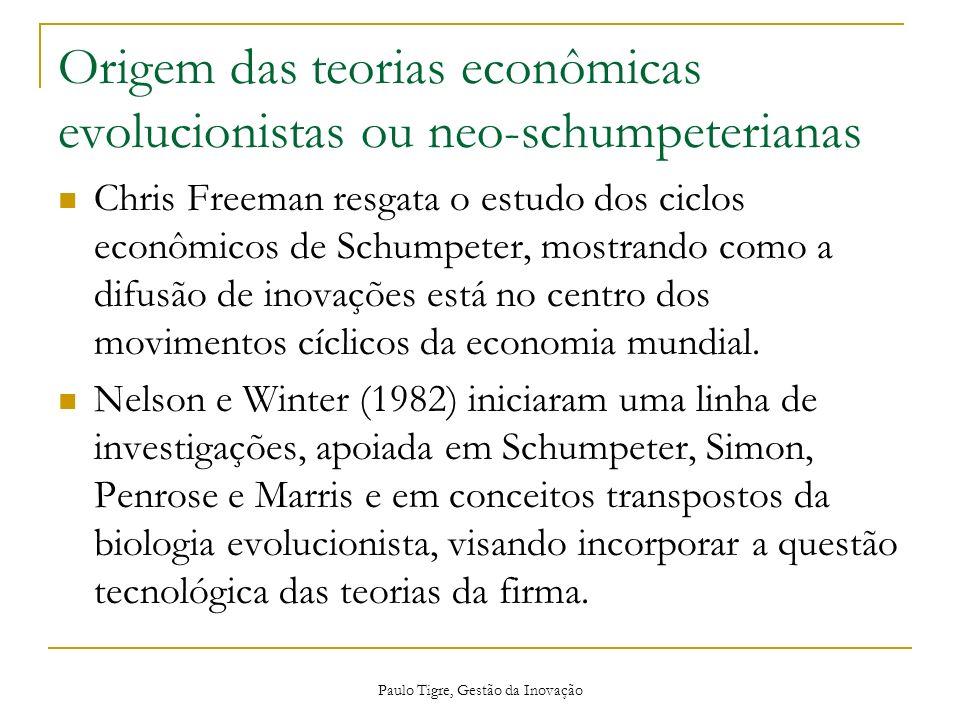 Origem das teorias econômicas evolucionistas ou neo-schumpeterianas Chris Freeman resgata o estudo dos ciclos econômicos de Schumpeter, mostrando como