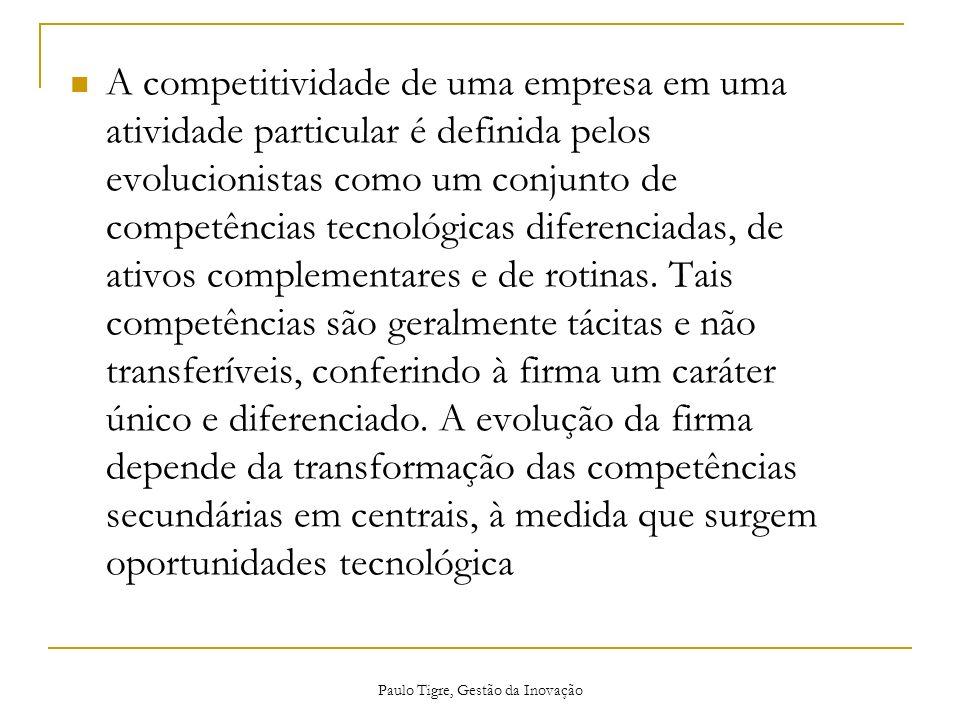 Paulo Tigre, Gestão da Inovação A competitividade de uma empresa em uma atividade particular é definida pelos evolucionistas como um conjunto de compe