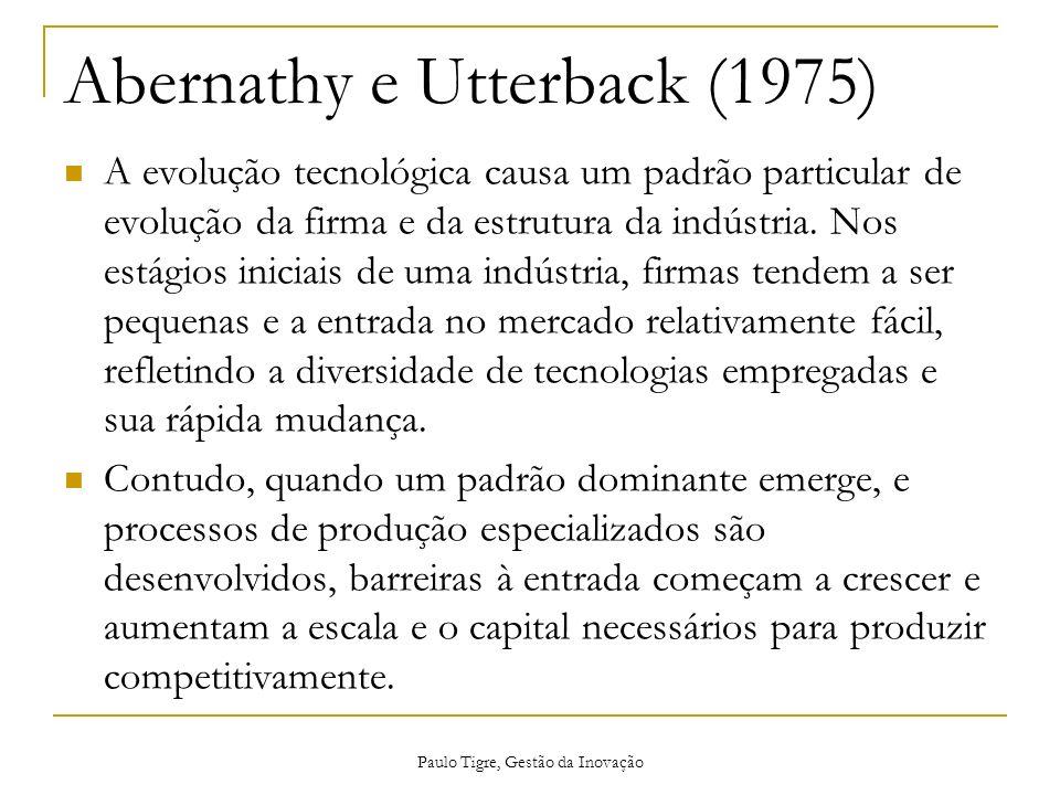 Abernathy e Utterback (1975) A evolução tecnológica causa um padrão particular de evolução da firma e da estrutura da indústria. Nos estágios iniciais