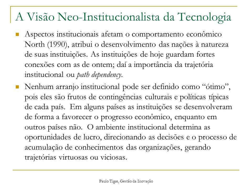 A Visão Neo-Institucionalista da Tecnologia Aspectos institucionais afetam o comportamento econômico North (1990), atribui o desenvolvimento das naçõe