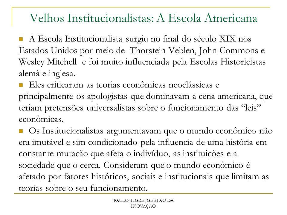 PAULO TIGRE, GESTÃO DA INOVAÇÃO Velhos Institucionalistas: A Escola Americana A Escola Institucionalista surgiu no final do século XIX nos Estados Uni