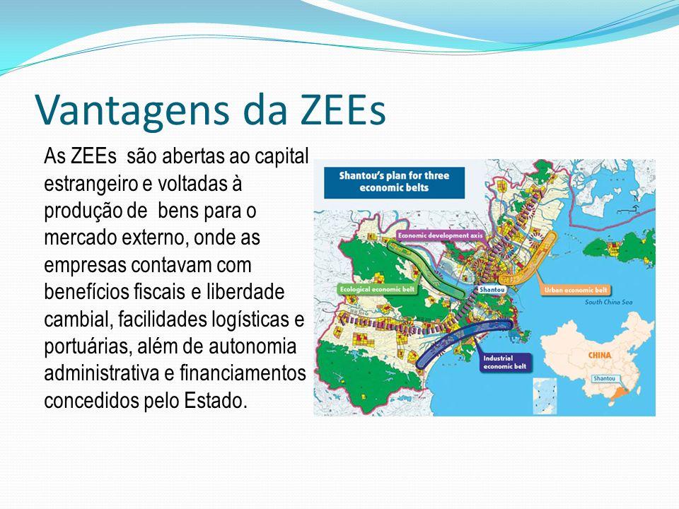 Vantagens da ZEEs As ZEEs são abertas ao capital estrangeiro e voltadas à produção de bens para o mercado externo, onde as empresas contavam com benef