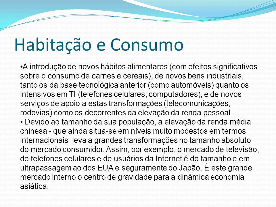 Habitação e Consumo A introdução de novos hábitos alimentares (com efeitos significativos sobre o consumo de carnes e cereais), de novos bens industri