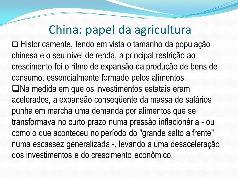 Historicamente, tendo em vista o tamanho da população chinesa e o seu nível de renda, a principal restrição ao crescimento foi o ritmo de expansão da