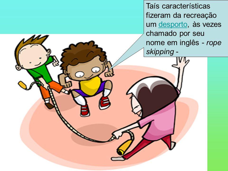 Consiste apenas em pular corda, mas também executar uma série de saltos, acrobacias, manejos com a corda.