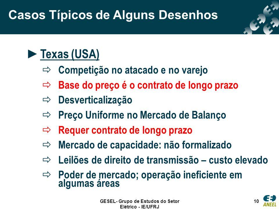 GESEL- Grupo de Estudos do Setor Elétrico - IE/UFRJ 10 Casos Típicos de Alguns Desenhos Texas (USA) Competição no atacado e no varejo Base do preço é