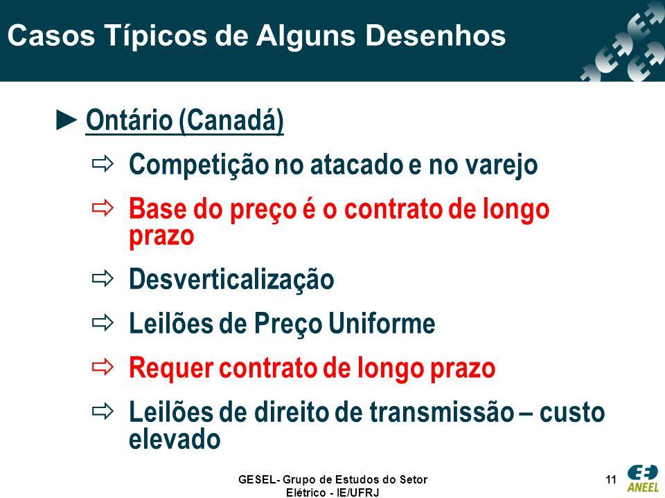 GESEL- Grupo de Estudos do Setor Elétrico - IE/UFRJ 11 Casos Típicos de Alguns Desenhos Ontário (Canadá) Competição no atacado e no varejo Base do pre