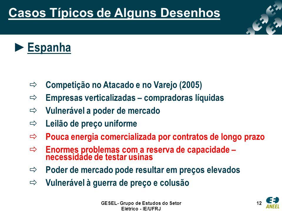 GESEL- Grupo de Estudos do Setor Elétrico - IE/UFRJ 12 Casos Típicos de Alguns Desenhos Espanha Competição no Atacado e no Varejo (2005) Empresas vert