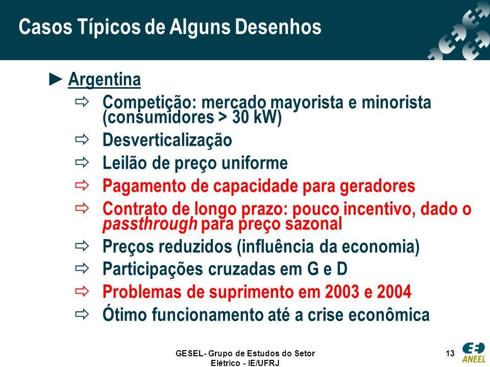 GESEL- Grupo de Estudos do Setor Elétrico - IE/UFRJ 13 Casos Típicos de Alguns Desenhos Argentina Competição: mercado mayorista e minorista (consumido