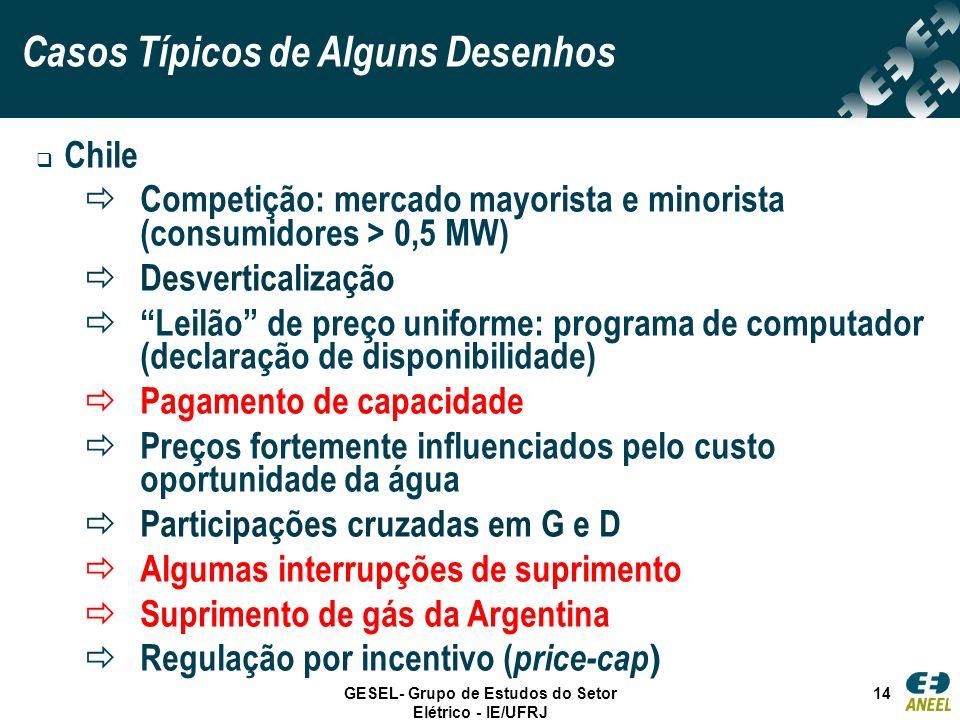 GESEL- Grupo de Estudos do Setor Elétrico - IE/UFRJ 14 Chile Competição: mercado mayorista e minorista (consumidores > 0,5 MW) Desverticalização Leilã