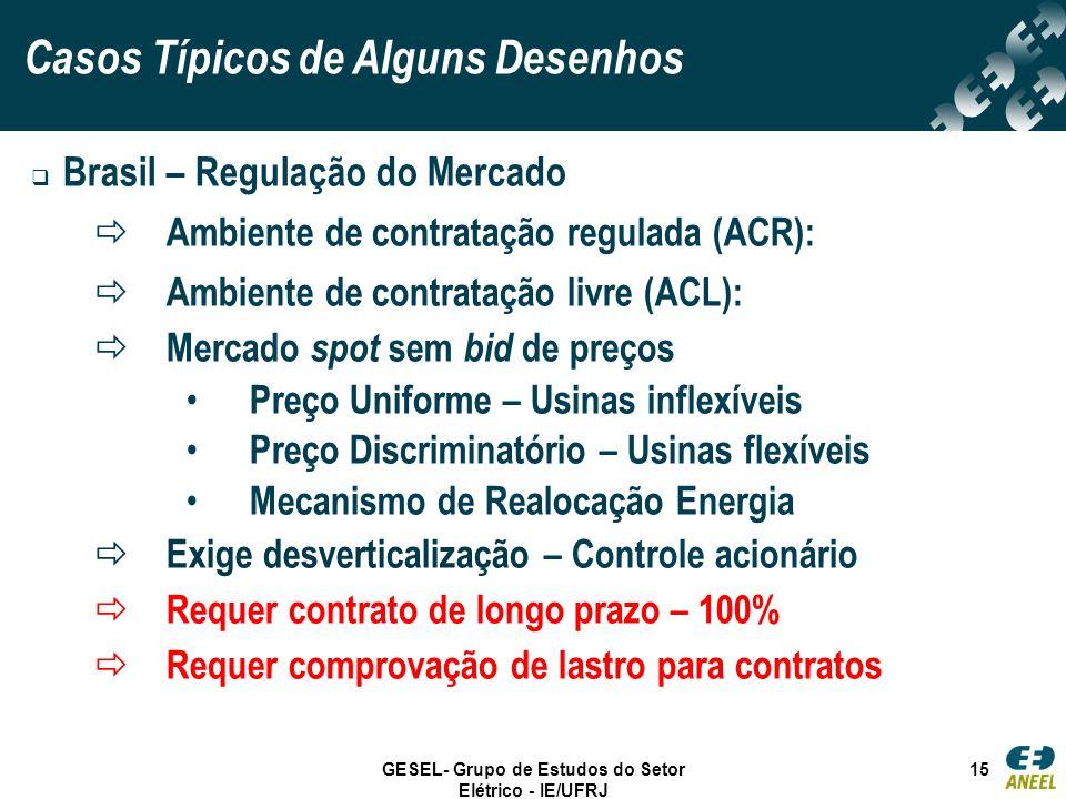 GESEL- Grupo de Estudos do Setor Elétrico - IE/UFRJ 15 Brasil – Regulação do Mercado Ambiente de contratação regulada (ACR): Ambiente de contratação l