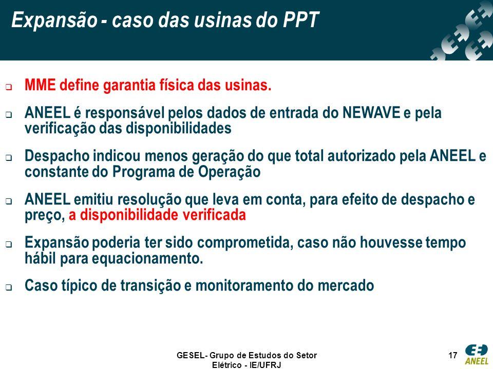 GESEL- Grupo de Estudos do Setor Elétrico - IE/UFRJ 17 Expansão - caso das usinas do PPT MME define garantia física das usinas. ANEEL é responsável pe
