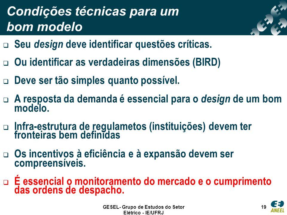 GESEL- Grupo de Estudos do Setor Elétrico - IE/UFRJ 19 Condições técnicas para um bom modelo Seu design deve identificar questões críticas. Ou identif