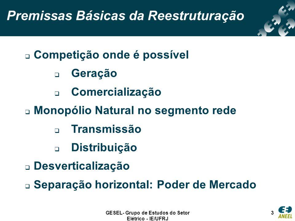 GESEL- Grupo de Estudos do Setor Elétrico - IE/UFRJ 3 Premissas Básicas da Reestruturação Competição onde é possível Geração Comercialização Monopólio