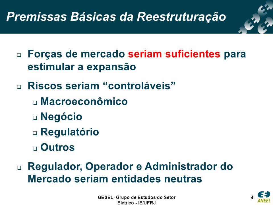 GESEL- Grupo de Estudos do Setor Elétrico - IE/UFRJ 4 Forças de mercado seriam suficientes para estimular a expansão Riscos seriam controláveis Macroe