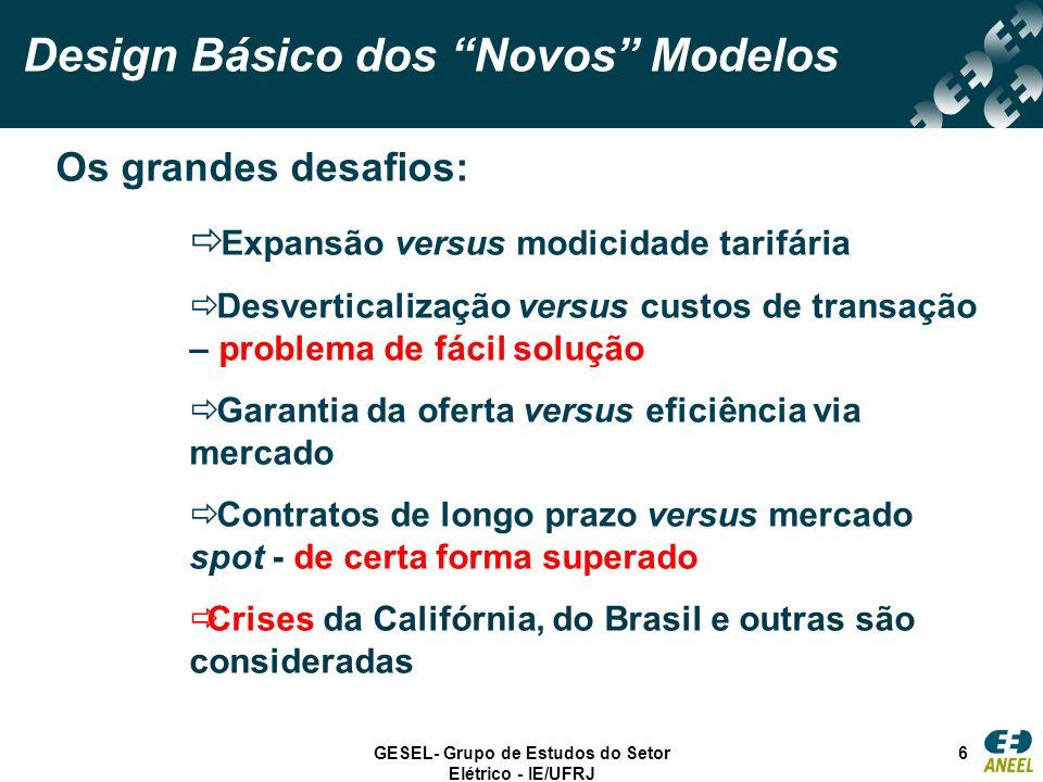 GESEL- Grupo de Estudos do Setor Elétrico - IE/UFRJ 6 Design Básico dos Novos Modelos Os grandes desafios: Expansão versus modicidade tarifária Desver