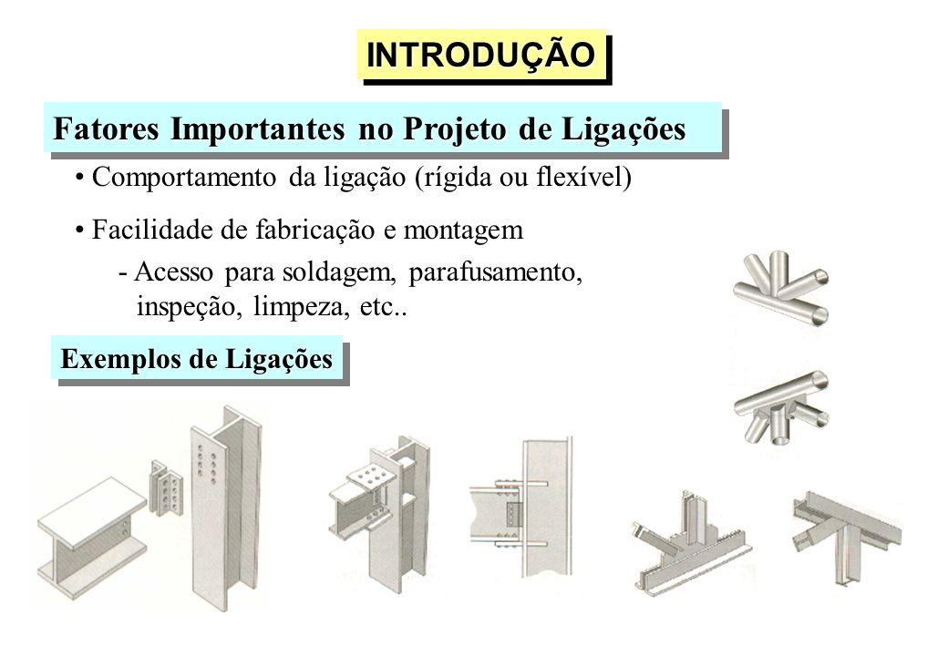 INTRODUÇÃOINTRODUÇÃO Fatores Importantes no Projeto de Ligações Comportamento da ligação (rígida ou flexível) Facilidade de fabricação e montagem - Ac