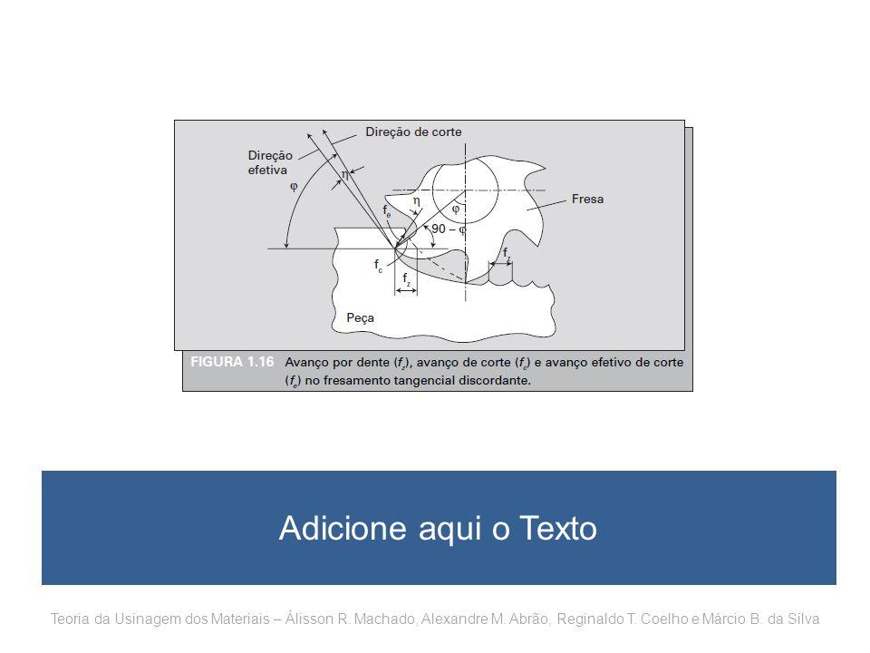 Adicione aqui o Texto Teoria da Usinagem dos Materiais – Álisson R. Machado, Alexandre M. Abrão, Reginaldo T. Coelho e Márcio B. da Silva
