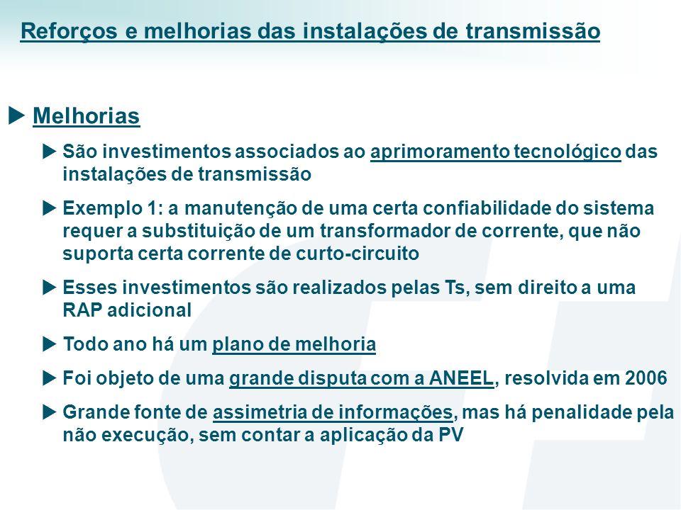 A forma de operar a rede básica de transmissão no Brasil tem sido muito bem sucedida, apesar da singularidade do design Ótima confiabilidade e as restrições de transmissão são ocasionais Incentivos minimizam os efeitos da assimetria de informações e quase não há problemas para a conexão de usuários Os custos unitários são decrescentes, o que é explicado, pelos resultados dos leilões de transmissão Ou seja, são bens resolvidas as falhas de mercado (AI, PM, E, e BP) É muito bem exercido o livre acesso à rede básica, o que pode ser explicado, por exemplo, pelas vendas diretas entre G e CL Sem grandes problemas no rateio das receitas mensais Considerações Finais