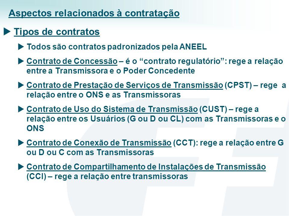 O Contrato de Prestação de Serviço de Transmissão (CPST) Celebrado entre o Operador da Rede e as Transmissoras Estabelece os termos e as condições para a prestação do serviço de transmissão – obrigações e direitos: do ONS e da T As Transmissoras autorizam ONS a representá-las no Contrato de Uso do Sistema de Transmissão (CUST) Por tal contrato as transmissoras são obrigadas a manter um determinado índice de disponibilidade – exigências operacionais; O não cumprimento de tal índice implica o pagamento de parcela variável (PV), que pode chegar a uma receita anual (RAP) Após a entrada em operação comercial as transmissoras têm direito à RAP, que resulta de um leilão ou é definida pela ANEEL, quando for um reforço Aspectos relacionados à contratação