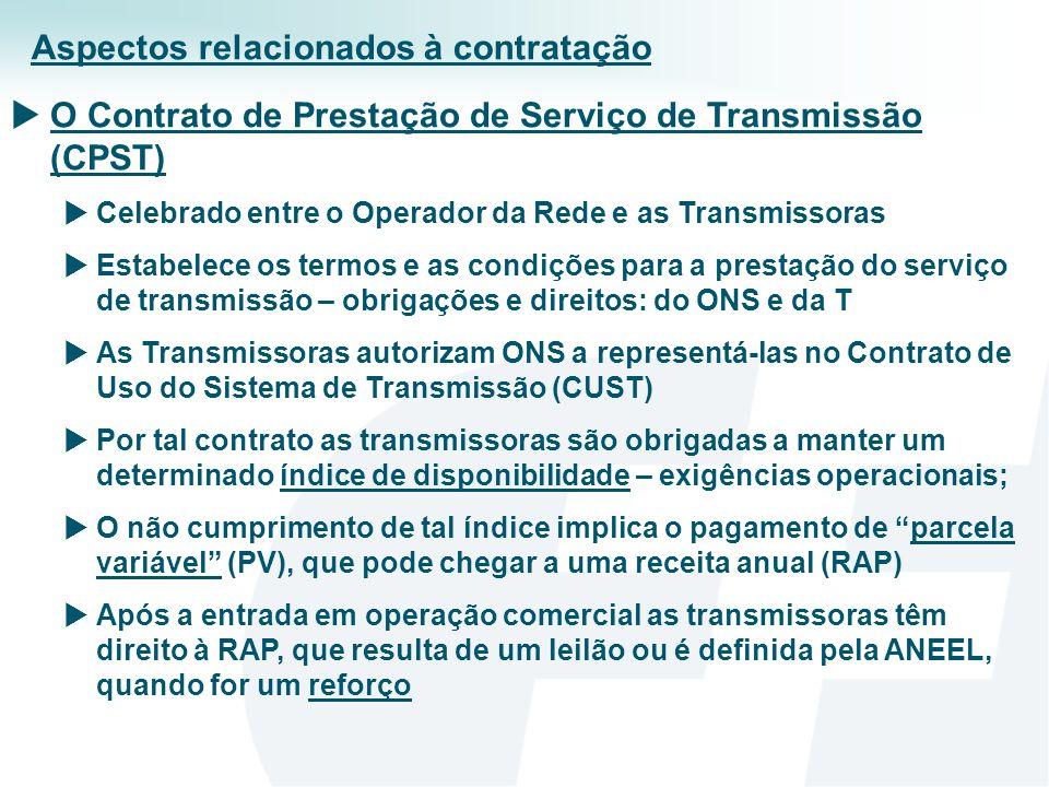 O Contrato de Uso da Transmissão (CUST) Celebrado entre o Operador da Rede, as Transmissoras e os Usuários (G, D e CL) Pode ser permanente ou temporário (suprimento interruptível) É o principal contrato para o negócio da transmissão Estabelece os termos e as condições para o uso da Rede Básica pelos Usuários Os usuários pagam uma Tarifa de Uso do Sistema de Transmissão (TUST), calculada pela ANEEL com base em preços locacionais Essas tarifas, multiplicadas pelo montante de uso dos sistemas de transmissão (MUST), formam as RAPs das transmissoras Mensalmente o ONS faz o rateio da receita total entre as Ts As sobras de receita reduzem as tarifas do ano seguinte e os déficits aumentam tais tarifas.