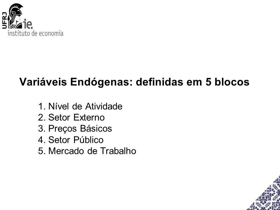 Variáveis Endógenas: definidas em 5 blocos 1. Nível de Atividade 2. Setor Externo 3. Preços Básicos 4. Setor Público 5. Mercado de Trabalho