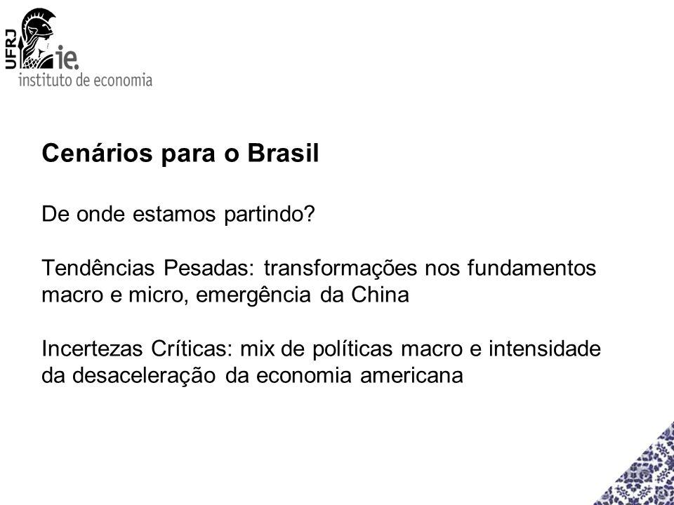 Cenários para o Brasil De onde estamos partindo? Tendências Pesadas: transformações nos fundamentos macro e micro, emergência da China Incertezas Crít