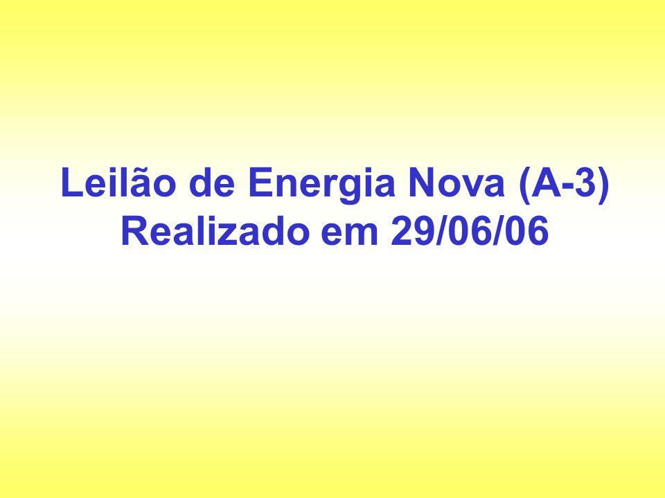 Leilão de Energia Nova (A-3) Realizado em 29/06/06