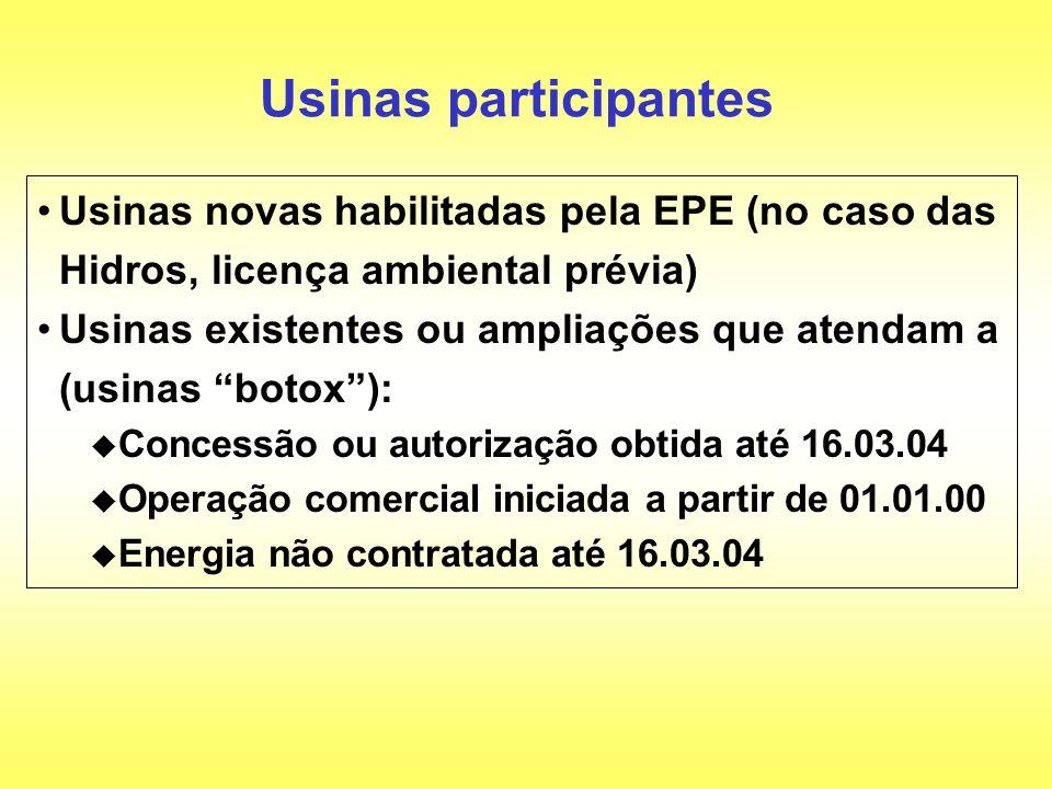 Usinas participantes Usinas novas habilitadas pela EPE (no caso das Hidros, licença ambiental prévia) Usinas existentes ou ampliações que atendam a (u