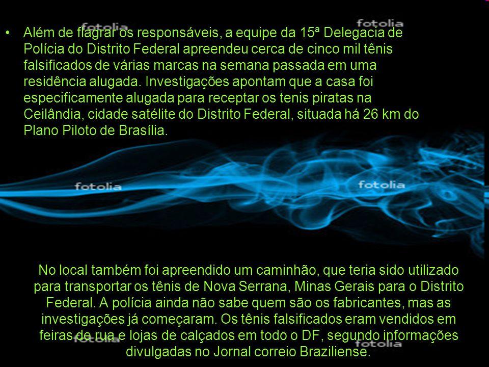 No local também foi apreendido um caminhão, que teria sido utilizado para transportar os tênis de Nova Serrana, Minas Gerais para o Distrito Federal.