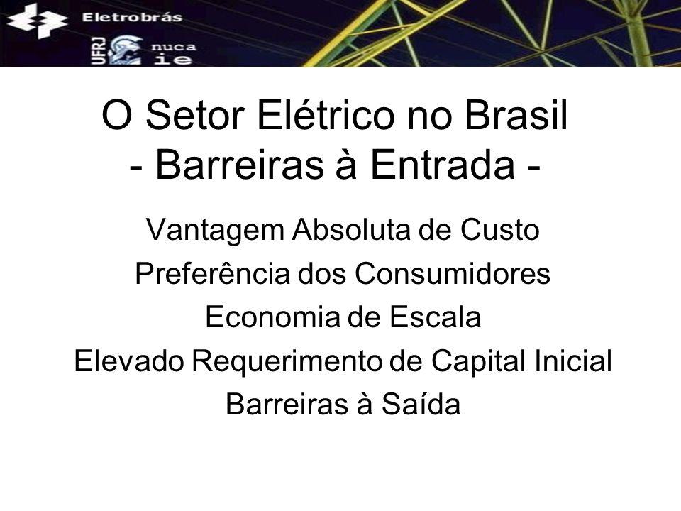 O Setor Elétrico no Brasil - Indústria de Rede - Compatibilidade Técnica Entre Suas Etapas Elevado Grau de Integração Externalidades Tecnológicas Irreversibilidade dos Investimentos