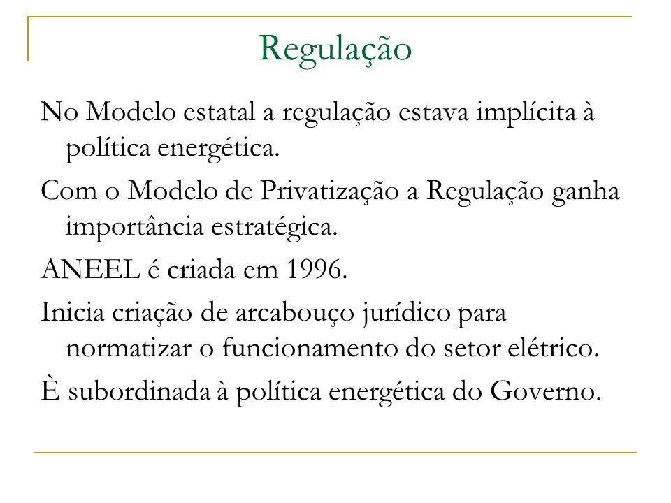 Regulação No Modelo estatal a regulação estava implícita à política energética. Com o Modelo de Privatização a Regulação ganha importância estratégica