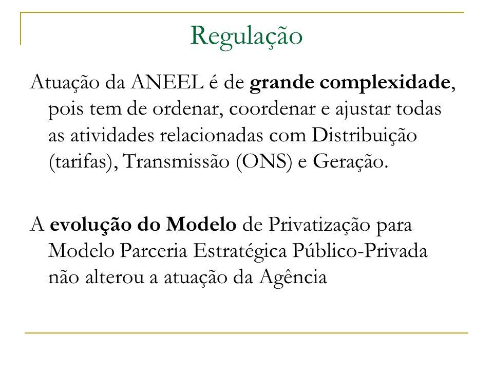 Regulação Atuação da ANEEL é de grande complexidade, pois tem de ordenar, coordenar e ajustar todas as atividades relacionadas com Distribuição (tarif