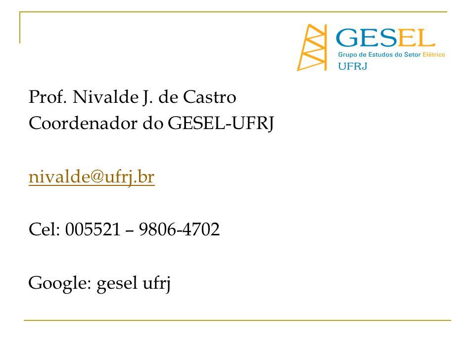 Prof. Nivalde J. de Castro Coordenador do GESEL-UFRJ nivalde@ufrj.br Cel: 005521 – 9806-4702 Google: gesel ufrj