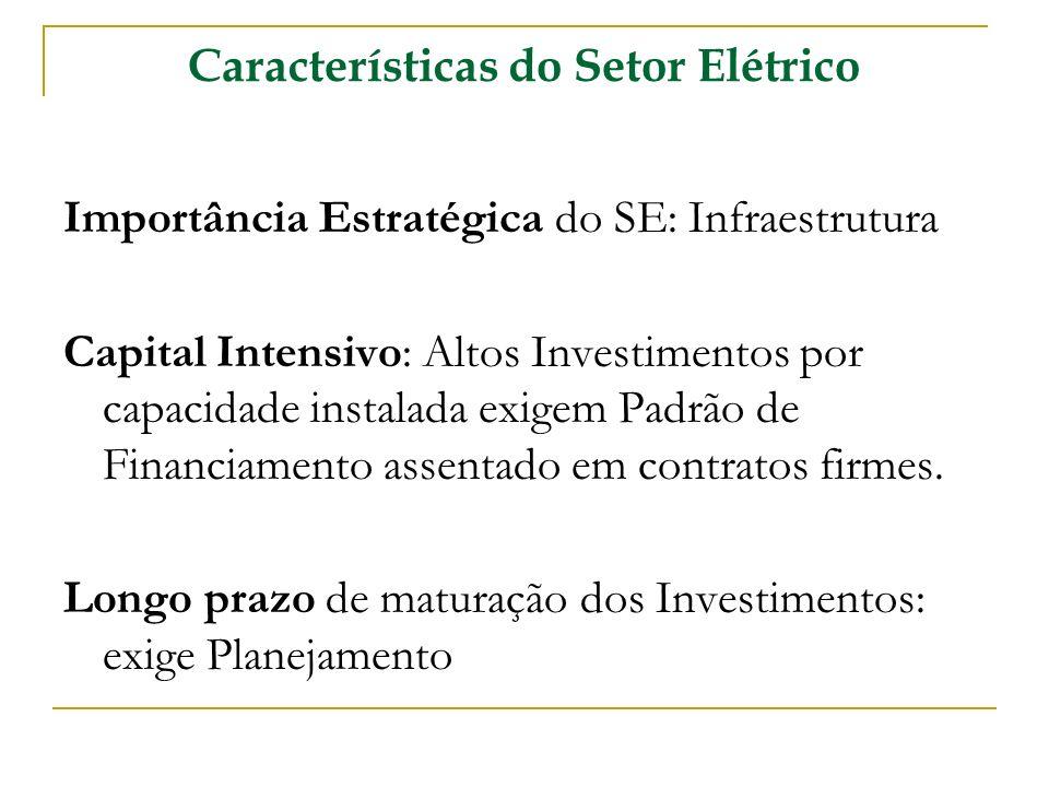 Características do Setor Elétrico Importância Estratégica do SE: Infraestrutura Capital Intensivo: Altos Investimentos por capacidade instalada exigem