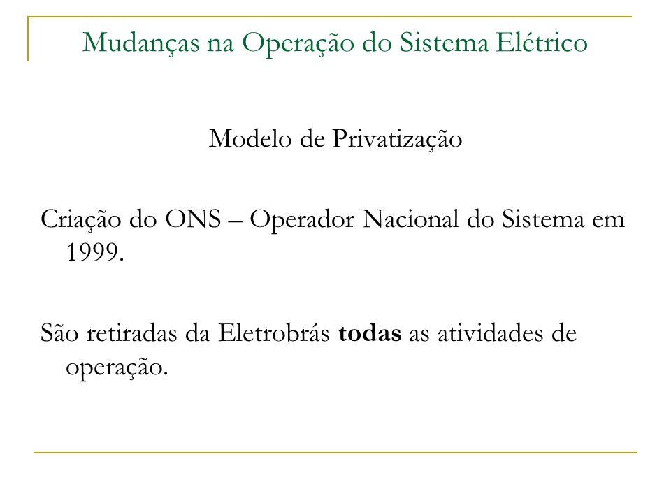 Mudanças na Operação do Sistema Elétrico Modelo de Privatização Criação do ONS – Operador Nacional do Sistema em 1999. São retiradas da Eletrobrás tod