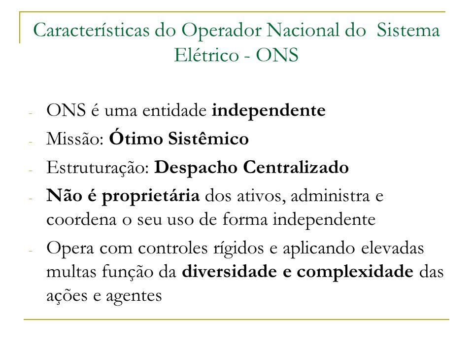 Características do Operador Nacional do Sistema Elétrico - ONS - ONS é uma entidade independente - Missão: Ótimo Sistêmico - Estruturação: Despacho Ce