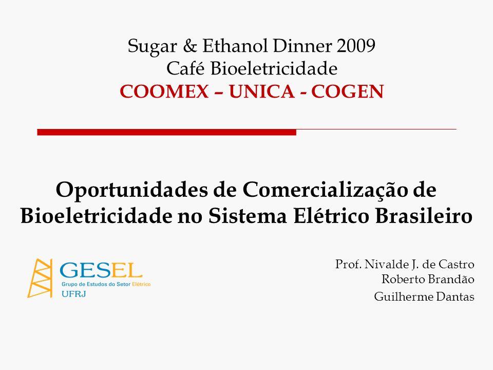 Oportunidades de Comercialização de Bioeletricidade no Sistema Elétrico Brasileiro Prof. Nivalde J. de Castro Roberto Brandão Guilherme Dantas Sugar &