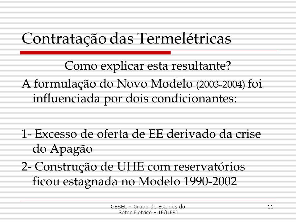 Contratação das Termelétricas Como explicar esta resultante? A formulação do Novo Modelo (2003-2004) foi influenciada por dois condicionantes: 1- Exce