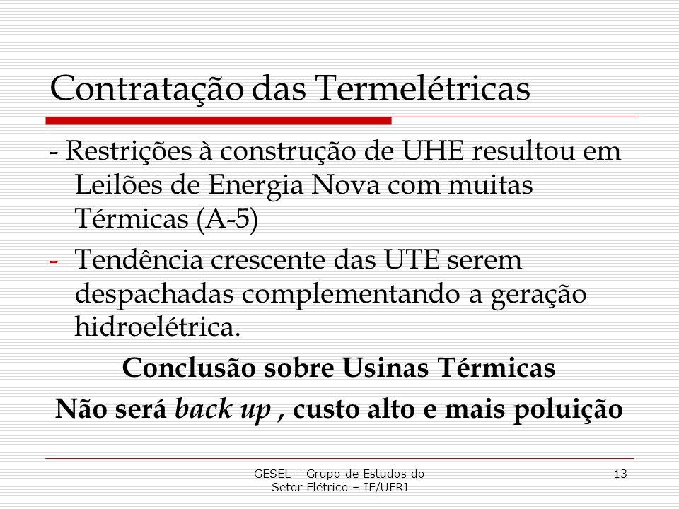 Contratação das Termelétricas - Restrições à construção de UHE resultou em Leilões de Energia Nova com muitas Térmicas (A-5) -Tendência crescente das