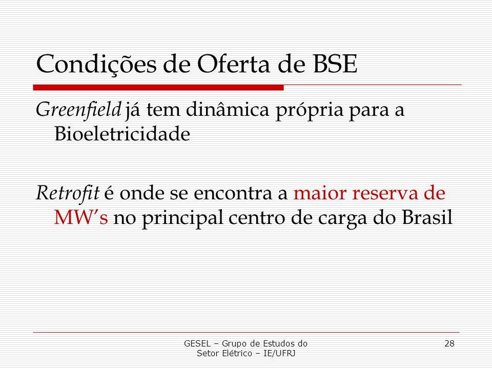 Condições de Oferta de BSE Greenfield já tem dinâmica própria para a Bioeletricidade Retrofit é onde se encontra a maior reserva de MWs no principal c