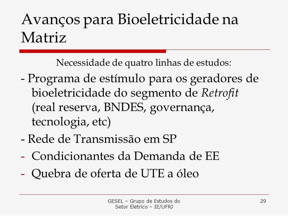 Avanços para Bioeletricidade na Matriz Necessidade de quatro linhas de estudos: - Programa de estímulo para os geradores de bioeletricidade do segment