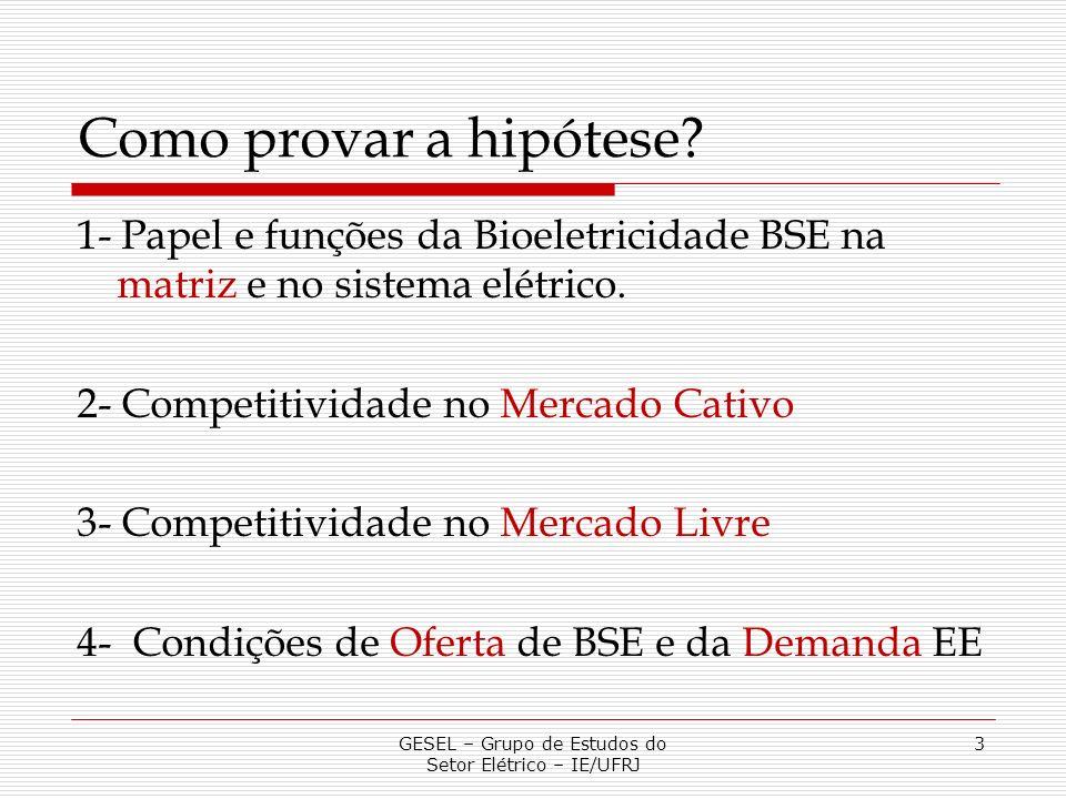 Como provar a hipótese? 1- Papel e funções da Bioeletricidade BSE na matriz e no sistema elétrico. 2- Competitividade no Mercado Cativo 3- Competitivi