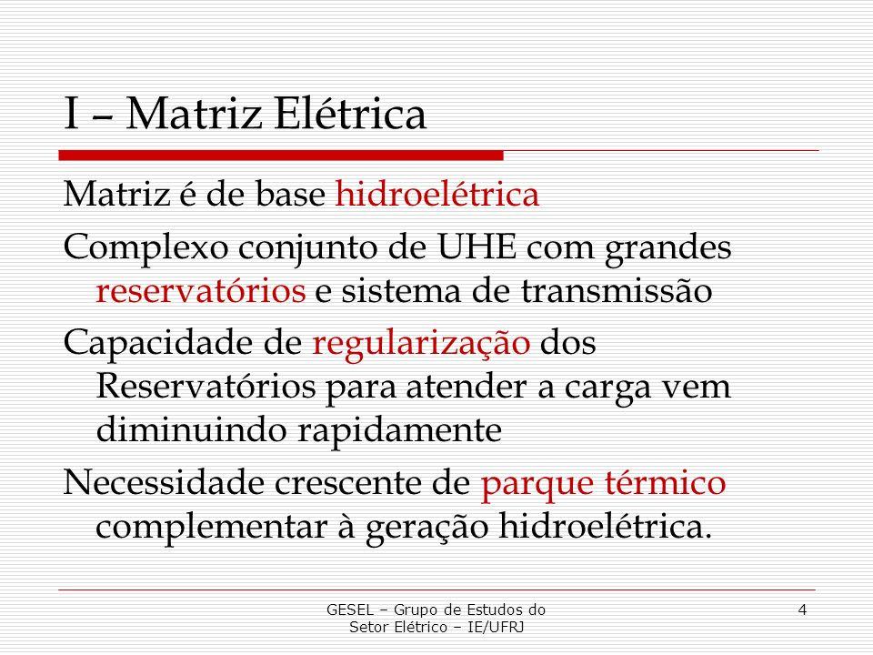 I – Matriz Elétrica Matriz é de base hidroelétrica Complexo conjunto de UHE com grandes reservatórios e sistema de transmissão Capacidade de regulariz