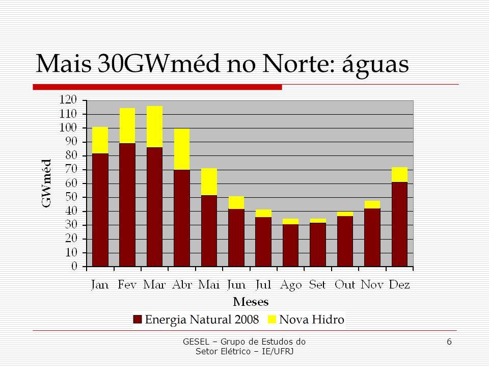 GESEL – Grupo de Estudos do Setor Elétrico – IE/UFRJ 6 Mais 30GWméd no Norte: águas