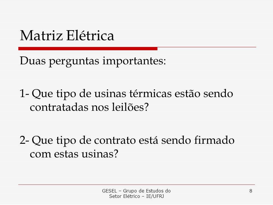 Matriz Elétrica Duas perguntas importantes: 1- Que tipo de usinas térmicas estão sendo contratadas nos leilões? 2- Que tipo de contrato está sendo fir