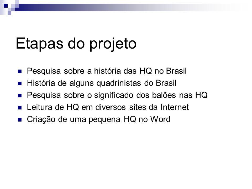 Etapas do projeto Pesquisa sobre a história das HQ no Brasil História de alguns quadrinistas do Brasil Pesquisa sobre o significado dos balões nas HQ