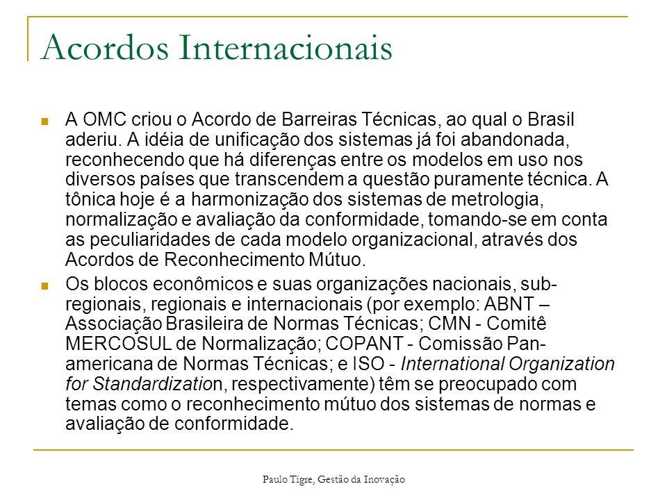 Paulo Tigre, Gestão da Inovação Acordos Internacionais A OMC criou o Acordo de Barreiras Técnicas, ao qual o Brasil aderiu. A idéia de unificação dos