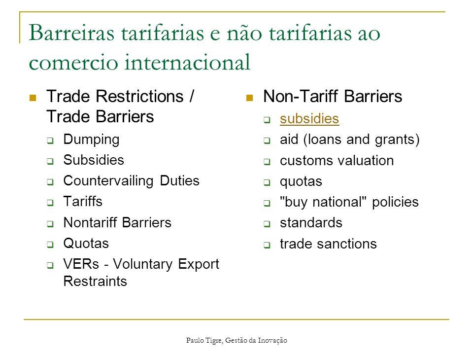 Paulo Tigre, Gestão da Inovação Barreiras tarifarias e não tarifarias ao comercio internacional Trade Restrictions / Trade Barriers Dumping Subsidies