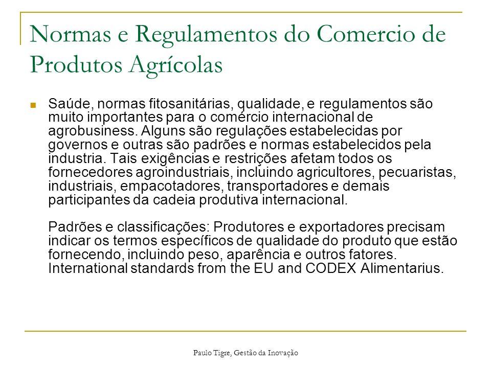Paulo Tigre, Gestão da Inovação Normas e Regulamentos do Comercio de Produtos Agrícolas Saúde, normas fitosanitárias, qualidade, e regulamentos são mu